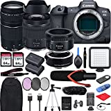 Canon EOS R5 with RF24-105mm f/4-7.1 is STM Lens Mirrorless Camera Bundle + EF75-300 is III, EF50 1.8 STM, EF-EOS R Mount Adapter, V30 Microphone, LED Light, Extra Battery, Backpack and Accessories