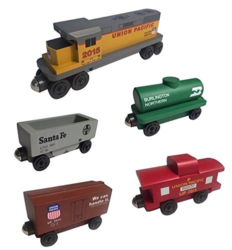 Whittle Shortline Railroad Union Pacific Railway GP-38 Diesel 5pc. Set - Wooden Toy Train Manufacturer