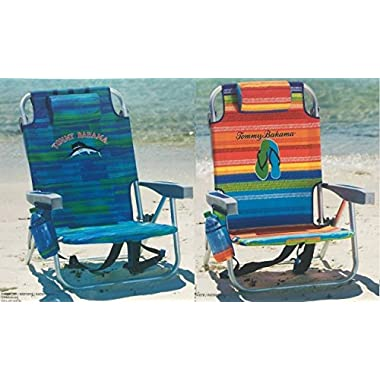2 Tommy Bahama Backpack Cooler Chair with Storage Pouch and Towel Bar (Blue Stripes + Multicolor Stripes)