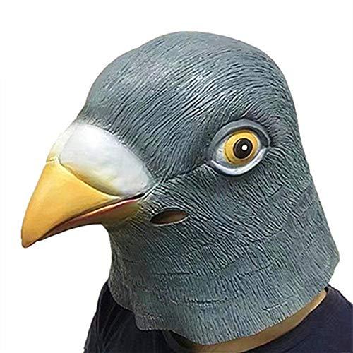 TURZJH Mascara Nueva Máscara de Paloma Látex Cabeza de pájaro Gigante Máscara de Cabeza de Paloma Espeluznante de Halloween 3D Látex Prop Animal-Paloma