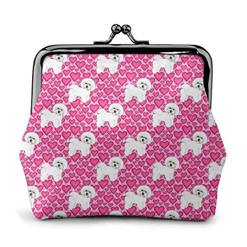 Monedero de Bichon Frise con diseño de perros y corazones rosados Walle...