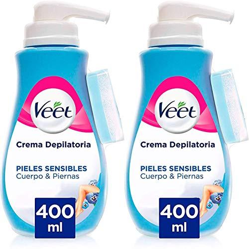 Veet Crema Depilatoria 400ml x 2 Unidades + Bandas de Cera Depilatoria Cuerpo y Piernas