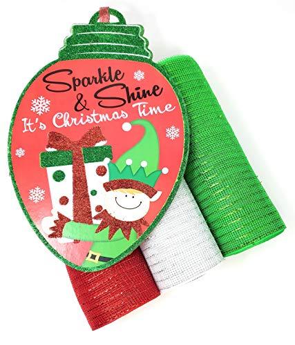 Christmas Deco Mesh Wreath Kit: 10' Mesh Rolls (Red, White, Green) and Santa's Elf Center Sign