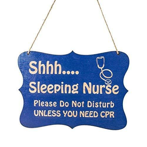 SIGNS Puerta para enfermera durmiente, 17 x 23 cm, divertida de madera pintada de madera divertida, decoración de pared para jardín divertida y placas