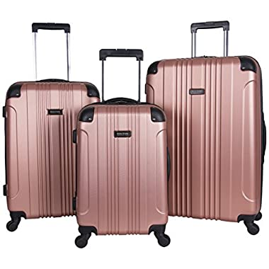 Kenneth Cole Reaction Out of Bounds Abs 4-Wheel Luggage 3-Piece Set 20 , 24  and 28  Sizes, Rose Gold