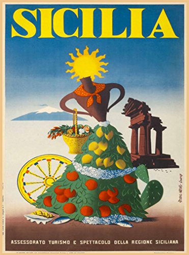 Sicilia Italia Sicily Italy Italian Girl with Fruit Vintage European Travel advertisement Art Poster Print. Measures 10 x 13.5 inches