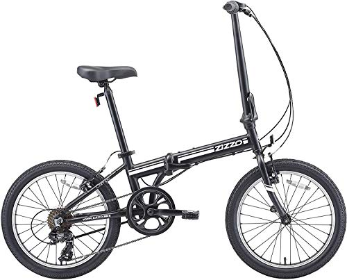 EuroMini ZiZZO Campo 28lb Lightweight Aluminum Frame Shimano 7-Speed Folding Bike 20-Inch (Matt Black)