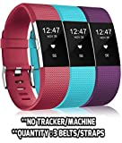 Rapidotzz Pack of 3 Belts/Straps Compatible for Fitbit Charge2 Bands Wristband Straps