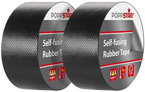 Poppstar 2x selbstverschweißendes Universal Isolierband und Dichtungsband, LxBxH 5m x 38mm x 0,76mm, schwarz