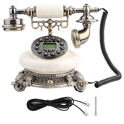 Plyisty MS-5401F Teléfono Retro Europeo Antiguo, teléfono retroiluminado con Sistema Dual FSK/DTMF, teléfono Vintage con Calendario electrónico/Fecha/Reloj/visualización de la Semana
