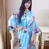 XFLOWR Mujeres Satén de Seda Largo Novia de la Boda Bata de Dama de Honor Bata de Kimono Floral Bata de baño Femenina Bata de baño de Gran tamaño Peignoir Femme Albornoz Talla única O