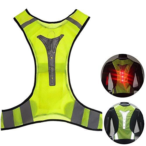 Outerdo Chaleco reflectante de alta visibilidad, LED, chaleco de seguridad con cintas reflectantes para actividades nocturnas al aire libre, como correr, ciclismo, pasear o trabajar., Type 1