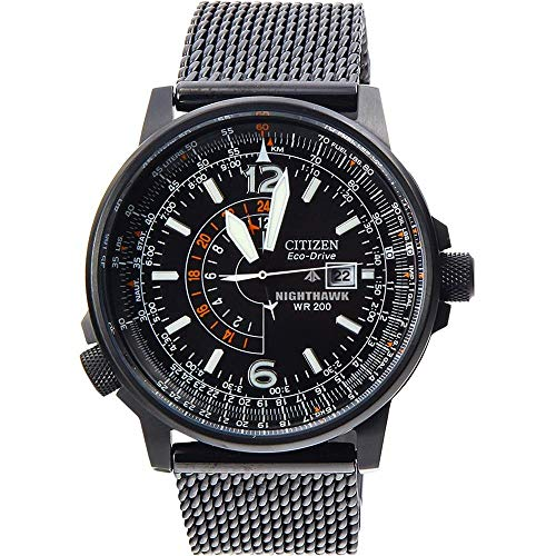 Citizen Eco-Drive Nighthawk Black Dial SS Quartz Men's Watch...