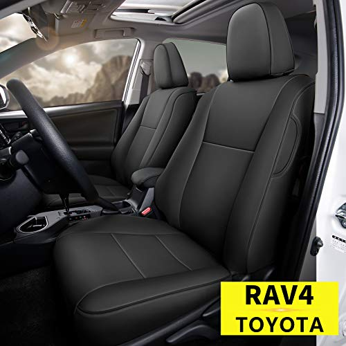 Custom Fit for Toyota 2016 2017 2018 RAV4 Faux Leather Car Seat Covers Full Set Compatible Airbag Rav4 Seat Protector Black (2016-2018 RVA4)