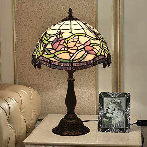 AWCVB Lámpara De Mesa De Tiffanía Europea Barroca Lámpara De Dormitorio Lámpara De Noche Lámpara De Noche