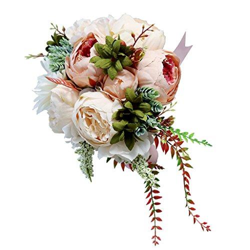 Sharplace Bouquet De Fleur Artificielle Décoration Voiture ou Table de Mariage - Champagne