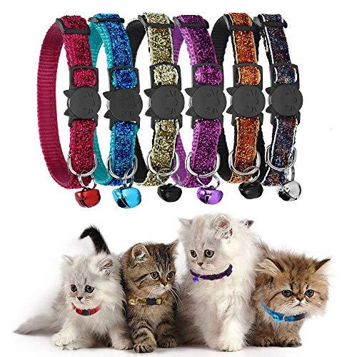 GingerUP Katzenhalsband, Katzenhalsband, mit Glöckchen, reflektierender Riemen und Sicherheitsschnalle, verstellbar (Mehrfarbig)