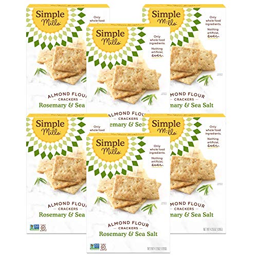Simple Mills Almond Flour Crackers, Rosemary & Sea Salt, Gluten Free, Flax Seed, Sunflower Seeds, Corn Free, Good for Snacks, Made with whole foods, 6 Count (Packaging May Vary)