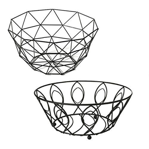 Guilty Gadgets Cuenco de alambre con revestimiento de polvo negro para frutas, pan y huevos, plato de almacenamiento, mesa de comedor, decoración del hogar, diseño surtido