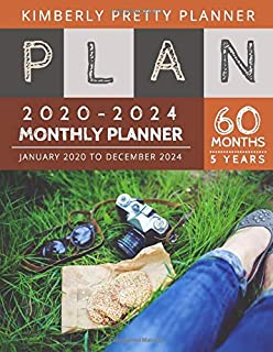 5 year monthly planner 2020-2024: agenda work 5 years 2020-2024 Monthly Planner Calendar | 5 Year Planner for 60 Months with internet record page | photography hobby design