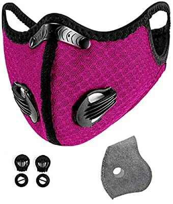 With 12 activated carbon filters, 8 filter valves, unisex, interchangeable, suitable for cycling, running, outdoor sports, black breathable ear hooks and tobacco powder (Light red) from yachen