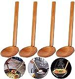 Cucchiaio di legno naturale di 4 pezzi, cucchiaio da minestra cinese retrò, cucchiaio di legno ecologico impostato, manico lungo naturale per porridge, zuppa, ramen, piatto caldo, ristorante, Usw