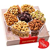 Valentines Day Gift Baskets for Her or Him, Gourmet Nut Platter, Red Box (XL Tray 7 Mix) - Healthy Food Arrangement, Care Package Variety, Prime Birthday Assortment, Kosher Snack Tray for Families