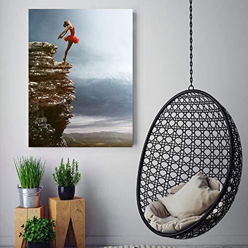ganlanshu Rahmenlose Malerei Ballett Mädchen Fresken auf Rock Art Leinwand schmücken Wohnzimmer Schlafzimmer homeZGQ5940 50X75cm