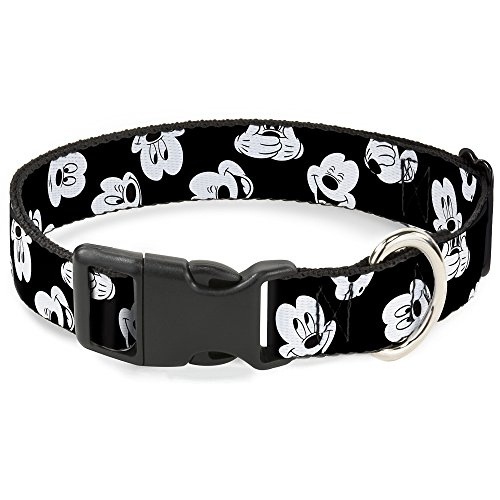 Buckle Down Mickey Mouse Expresiones Scattered Negro/Blanco plástico Clip Collar