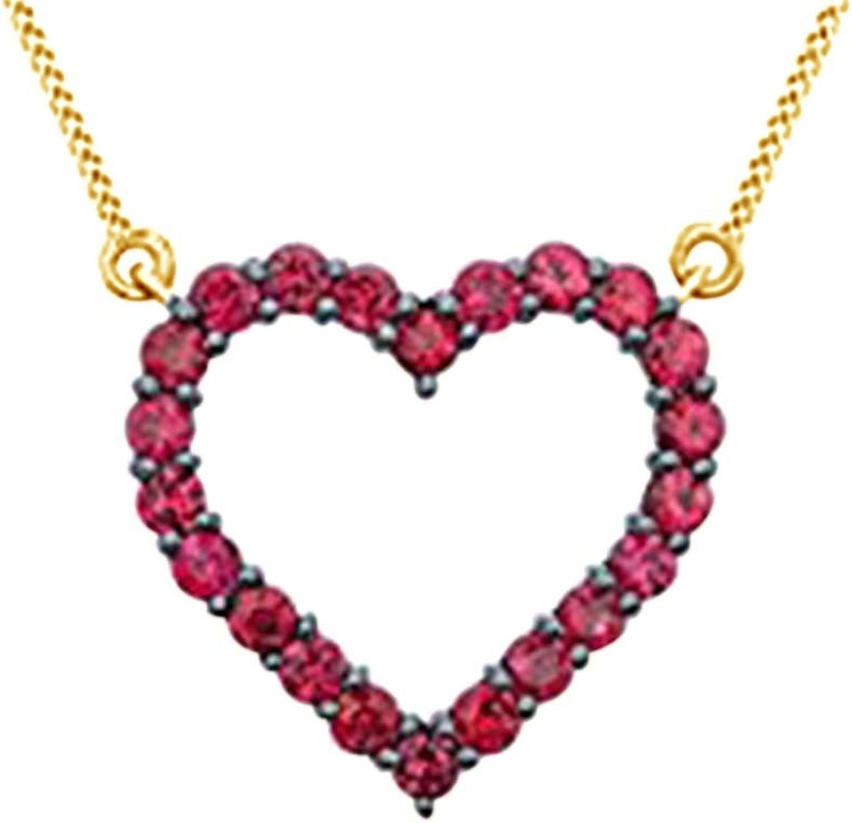 AFFY simulierten Rubin Herz Anhnger Halskette in Gold über Messing