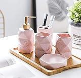 Juego de 6 accesorios de baño de cerámica mate con diseño de...