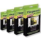 Pro Home Insektenschutz Fliegengitter 4er Pack Mückennetze 130x150 cm in schwarz, reißfest und...
