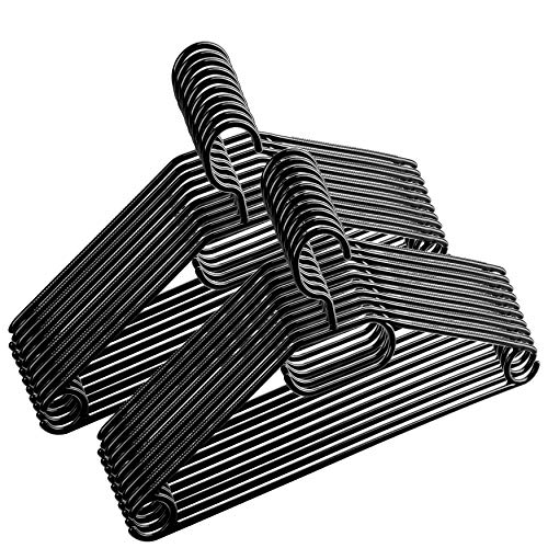 Centi 50 Stück - Kleiderbügel Kunststoff drehbarer Haken - Schwarz - Made in EU - Umweltfreundlich da 100% Recyclingmaterial