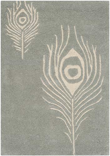 Safavieh Soho Collection SOH704C - Alfombra de lana de primera calidad hecha a mano, color gris y marfil (2 x 3 pies)