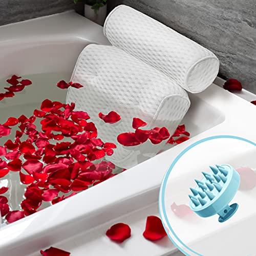 buonson Cuscino Vasca da Bagno 4D con 7 Ventose Antiscivolo - Gratis Spazzola Massaggiante Testa per Un Relax Spa da Sogno - Cuscino Poggiatesta Ergonomico per Tutti i Tipi di Vasca