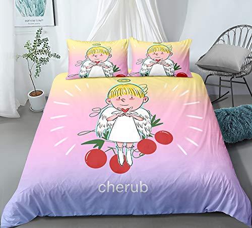 XUNGENG - Juego de cama infantil y funda de almohada, estampado 3D de microfibra con cremallera para niños, funda de edredón para niño, niña, cama de 135 x 200 cm