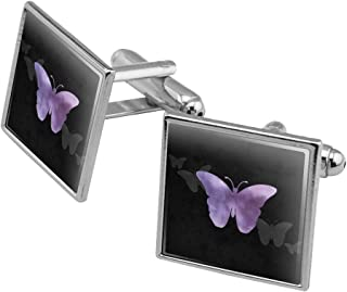 Purple Butterfly Watercolor Silhouette Square Cufflink Set - Silver or Gold