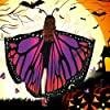 Butterfly Wings Shawl Halloween Costume Ladies Cape Lace Mask Antenna Headband Purple Red #4