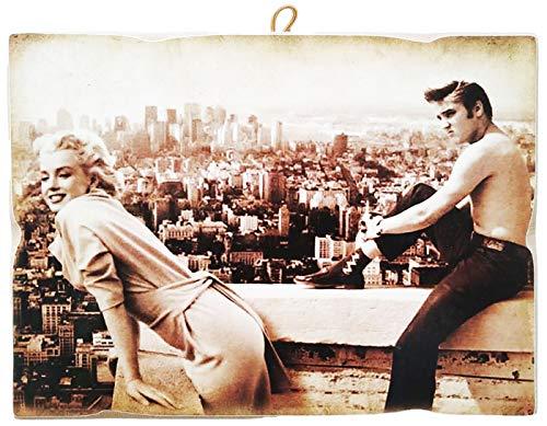 KUSTOM ART Quadro Quadretto Stile Vintage Marilyn Monroe & Elvis Presley da Collezione Stampa su Legno