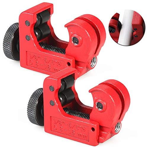 "Mini Rohrschneider WENTS 2PCS Klein rohrabschneider kupfer,kupferrohrschneider,3-16mm (1/8\""-5/8\"") Einstellbarer Mini Tube Pipe Cutter (Red)"