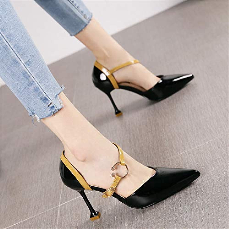 HRCxue Pumps Mode hohl sexy spitz Stiletto high Heel Heel Heel Frauen Wort Schnalle mit Einem einzigen Schuh, 39, schwarz 313