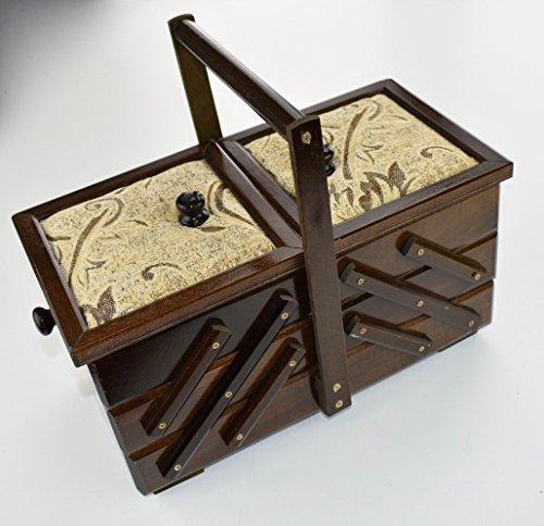 Woodeeworld - Baúl pequeño de color marrón oscuro vintage para costura, joyas,...