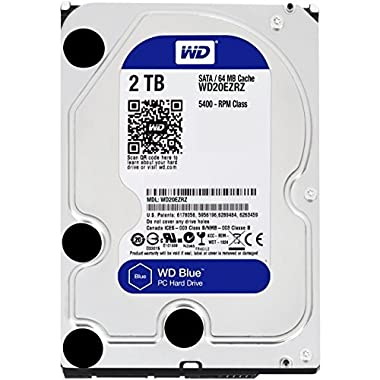 WD Blue 2TB Desktop Hard Disk Drive - SATA 6 Gb/s 64MB Cache 3.5 Inch - WD20EZRZ