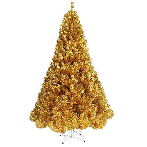 Árbol de Navidad Árbol De Navidad Ramas Encriptadas Artificiales Árbol De Navidad Pinos Artificiales Árbol-Metal Soporte-Llama Retardante Material De PVC-Múltiples Tamaños-Oro