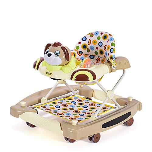 GUO@ Rueda silenciosa Baby Walker Rueda silenciosa Multifunción antivuelco 4 en un carro infantil Anti-o Pierna Caminando a pie Caballo mecedora variable (Color : Caqui)