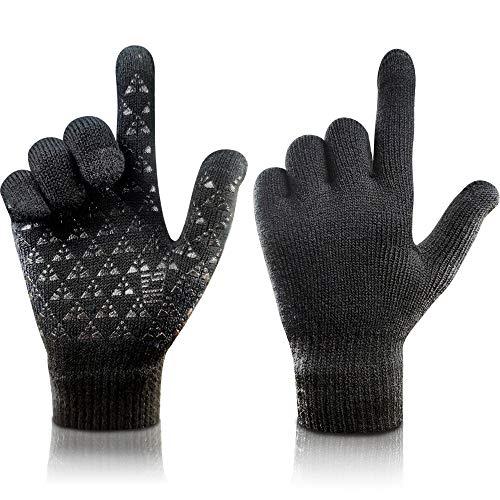 arteesol Knit Handschuhe Winter warme Handschuhe, Winddichte Anti-Rutsch-Touchscreen-Handschuhe-Fahrrad Verdickung Arbeiten im Freien Sport Fahren, Skifahren,Laufen für Damen Herren (Schwarz, L)