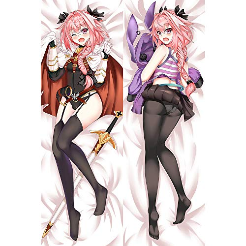 HQHQH Fate Astolfo Girl Anime Body Pillow Cover Double-Side Pillow Case Decorative Zipper Hugs Body Throw Pillow Cover Case (Large,Peach Skin)