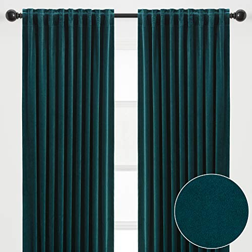 Chanasya 2-Panel Solid Classy Velvet Blackout Curtains - 3-in-1 Back Tab, Rod Pocket, Ring Tab - for Windows Living Room Bedroom - Partial Room Darkening Drapes for Privacy - 52 x 84 Inches - Teal