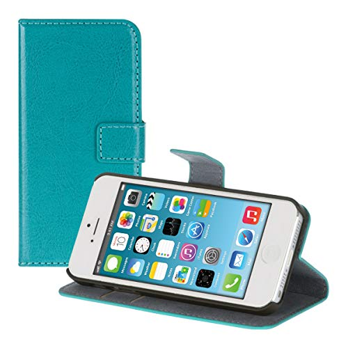 kwmobile Funda compatible con Apple iPhone SE / 5 / 5S - De cuero sintético - Case con tarjetero en turquesa