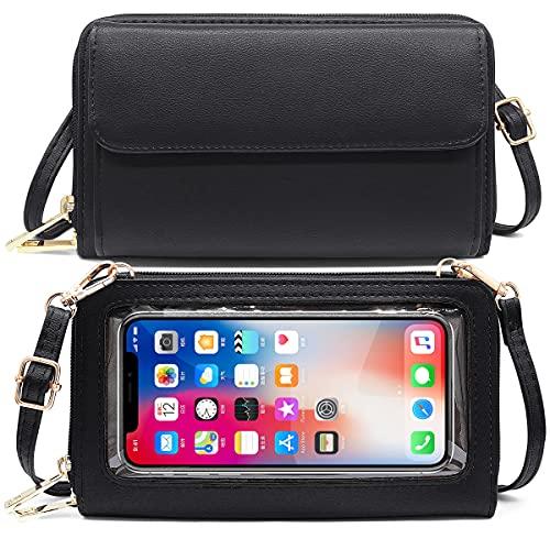 HNOOM Handytasche zum Umhängen Damen Handtasche Touchscreen Handytasche mit Geldbörse RFID Schutz Handy Geldbeutel Umhängetasche Damen Klein Crossbody Schultertasche Passt Handy unter 6,9